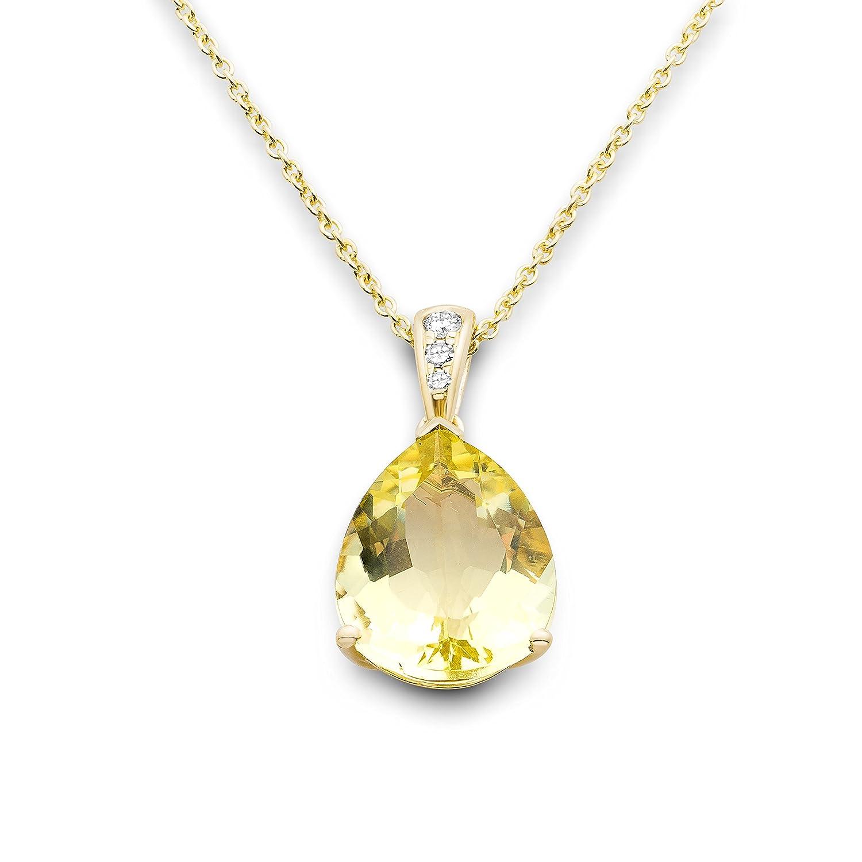 Miore Damen-Anhänger 375 Gelbgold Quarz gelb Tropfenschliff Diamant 45 cm – MY057N bestellen