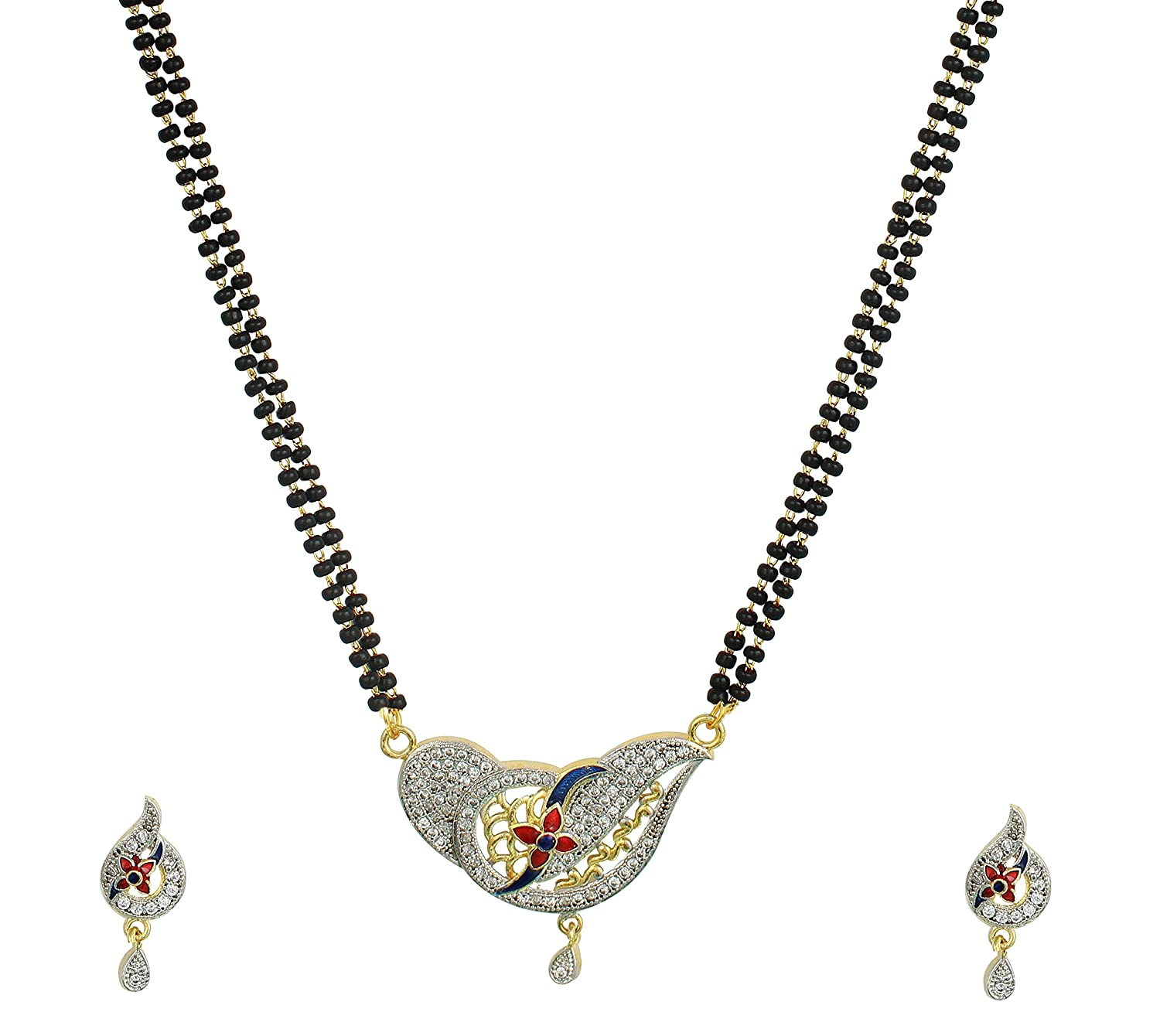 Diamond Gold Plated Mangalsutra Pendant with Chain and Earrings