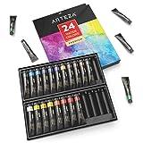 ARTEZA Watercolor Paint, Set of 24 Colors/Tubes (24x12ml/0.74oz) with Storage Box, Rich Pigments, Vibrant, Non Toxic Paints for the Professional Artis