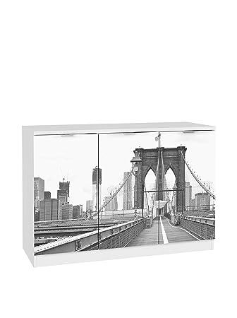 Suarez h004-bro Brooklyn Buffet mit 3Turen melamin weiß 120x 45x 85,9cm