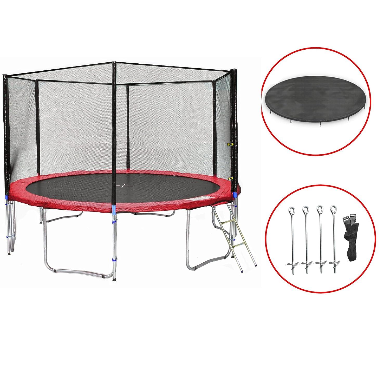 SB-370-R Gartentrampolin 370cm incl. Netz, Leiter, Bodenanker ,Wetterplane 180kg jetzt kaufen