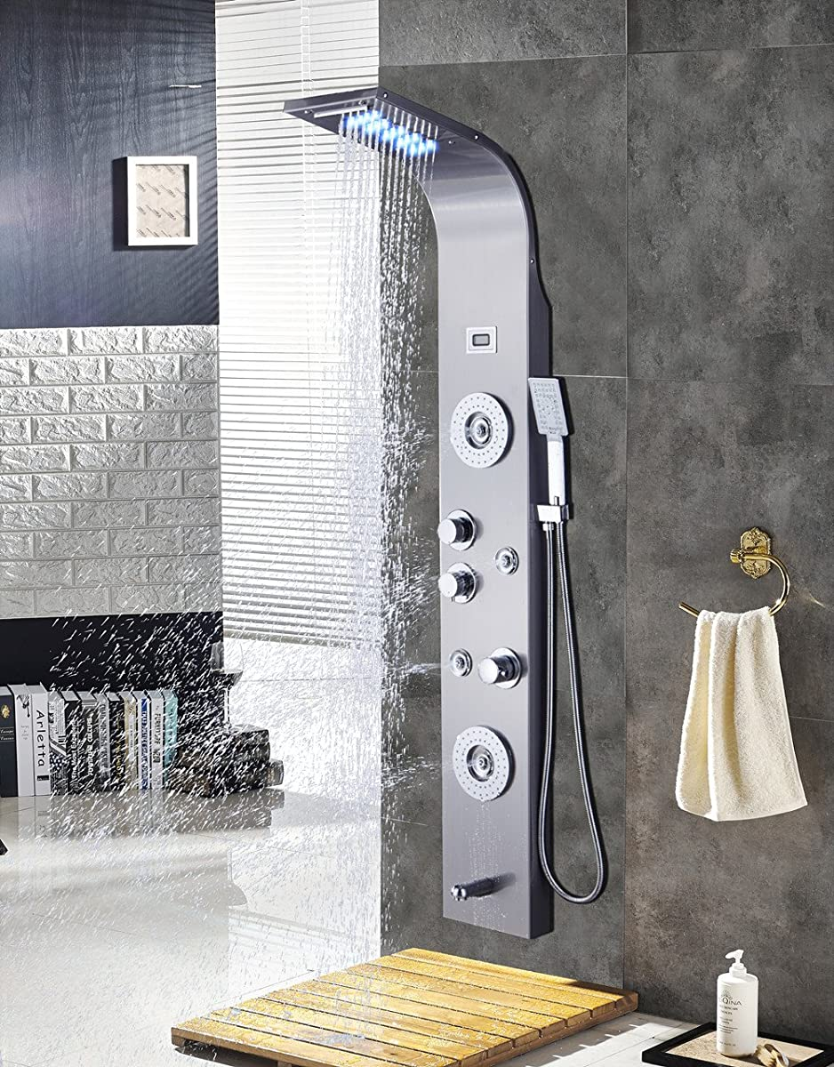 ELLO&ALLO Stainless Steel Shower Panel Tower System,LED Rainfall ...