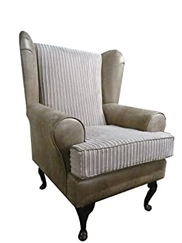 Beige Snake and Jumbo Mink Cord Fabric Queen Anne design wing back fireside high back chair. Ideal bedroom or living room furniture