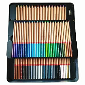 Egoshop 100 Color Marco Renior Oil Base Colored Pencils Set for Artist Sketching Drawing Writing Art Painting/ Adult Coloring Books Metal Tin Case (Color: Pack of 100 Color)