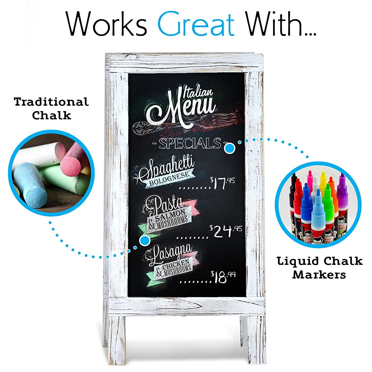 "Chalkboard A-Frame with Rustic Vintage Gray Wash Frame Sandwich Board | 20in x 40in Blackboard | Great Chalk Board Sign. Use for Sidewalk Menu, Home, Restaurant, Kitchen Decor (20"" x 40"")"