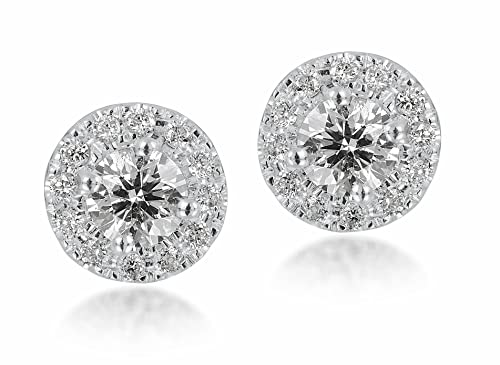 Diamond Studs Forever - 1/2 Ctw Diamond Halo Earrings IGI USA Certified Screw Backs GH/I1 14K White Gold