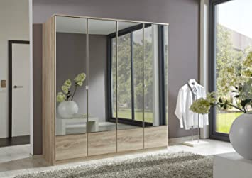 German Imago Light Oak 4 Door Mirror Door Wardrobe
