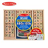 Melissa & Doug Deluxe Letters and Numbers Wooden Stamp Set ABCs 123s with Activity Book, 4-Color Stamp Pad (Color: Multi)