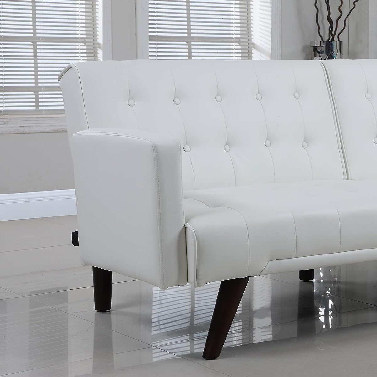 Modern Convertible Tufted Bonded Leather Splitback Sleeper Sofa Futon (White)