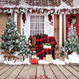 10x10ft Christmas Tree & Outdoor Snow Landscape Theme Pictorial Cloth Poly Fabric Photo Backdrops Customized Studio Background Studio Props SDJ-024 (Color: SDJ-024, Tamaño: 10X10FT)