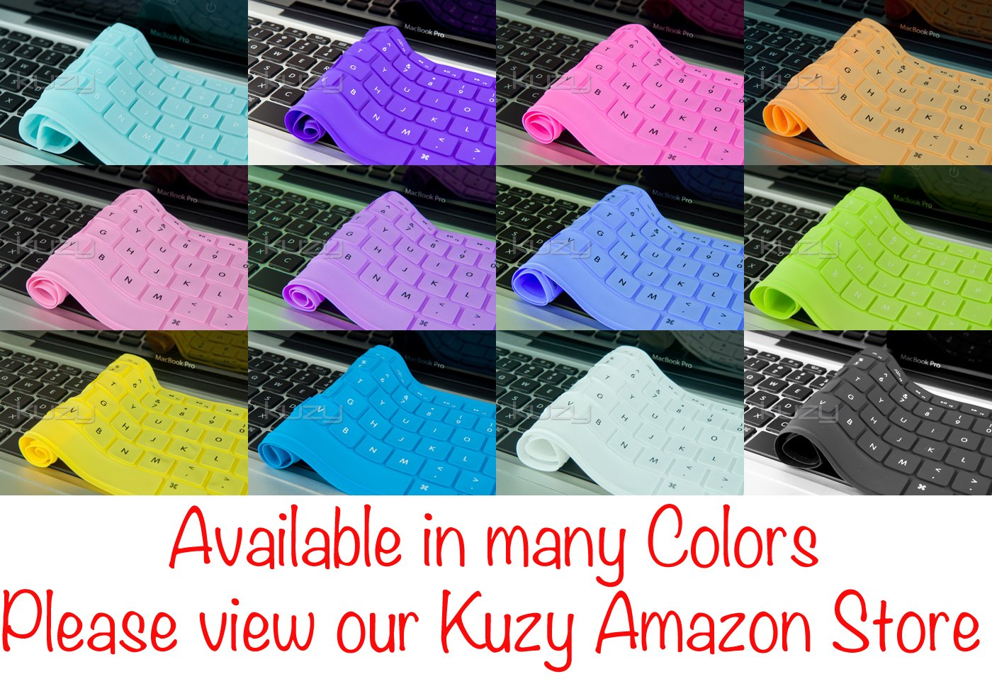 "Kuzy - Solid BLUE Keyboard Silicone Cover Skin for Apple MacBook Pro 13"" 15"" 17"" (fits MacBook with or w/out Retina Display) MacBook Air 13"""