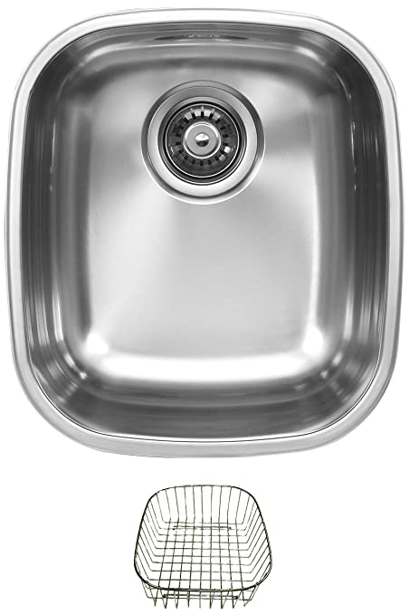Ukinox D345.8.RB Modern Undermount Single Bowl Stainless Steel Kitchen Sink with Rinsing Basket
