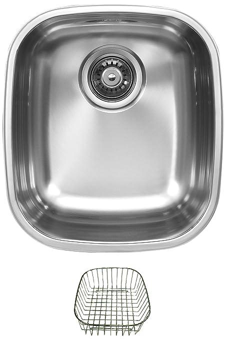 Ukinox D345.8.RB Modern Undermount Single Bowl Stainless Steel Kitchen Sink with Rinsing Basket