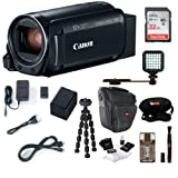 Canon VIXIA HF R800: 1080p HD Video 57x Zoom Camcorder Bundle with 32GB SD Card LED Video Light Spare Battery Camera Case Mini Tripod and Cleaning Kit - Compact and Affordable Camcorder Kit (Color: Black)