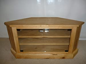 Oak Corner TV unit, stand or cabinet with glass doors, ideal for the smaller living room or lounge       reviews and more information
