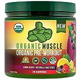 ORGANIC MUSCLE #1 Rated Organic Pre Workout Powder – All Natural Vegan Keto Preworkout & Organic Energy Supplement for Men & Women - Non-GMO, Paleo, Gluten Free, Plant Based – Lemon Berry - 160g