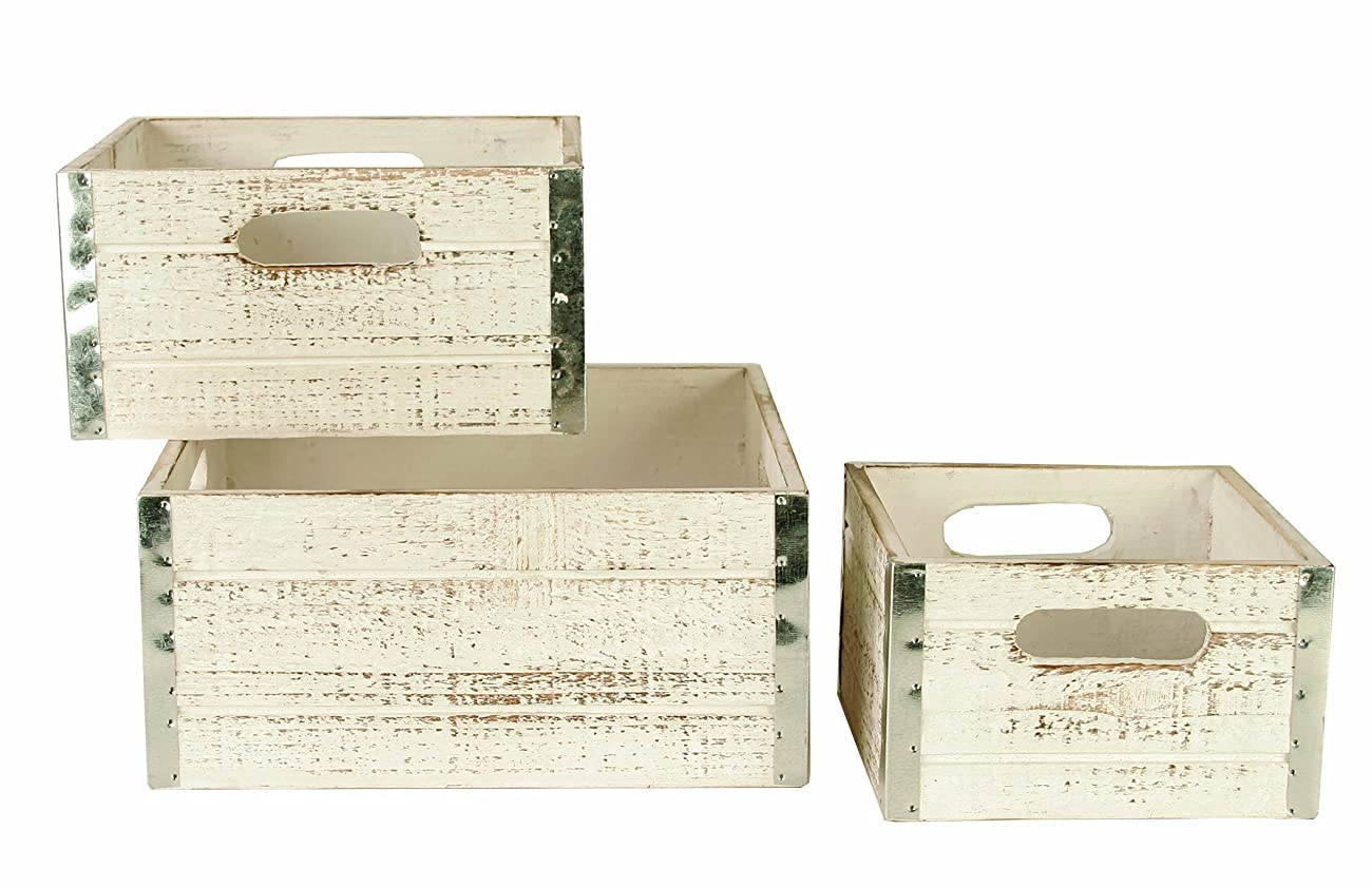 Wald Imports Set of 3 Square Wood Crates with Metal Trim, Distressed White 0