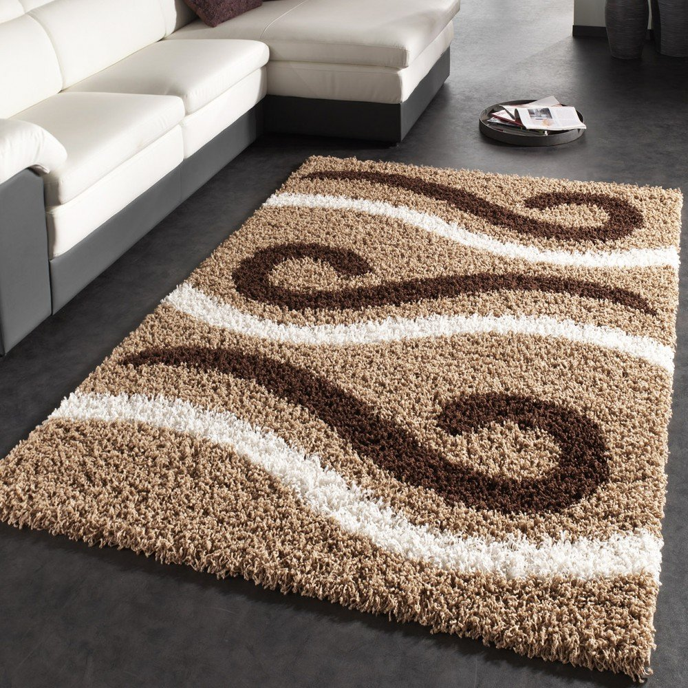 Shaggy Carpet High Pile Long Pile Striped Pattern Model In Brown Beige Cream, Size 190x280 cm       Customer review and more information