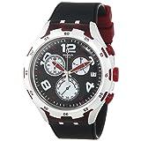 Swatch Men's YYS4004 Irony Analog Display Swiss Quartz Black Watch (Color: Black\Red)