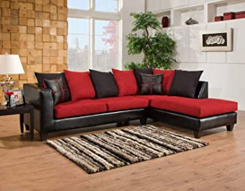 Chelsea Home Furniture Mu 2-Piece Sectional, Jefferson Black/Victory Lane Cardinal