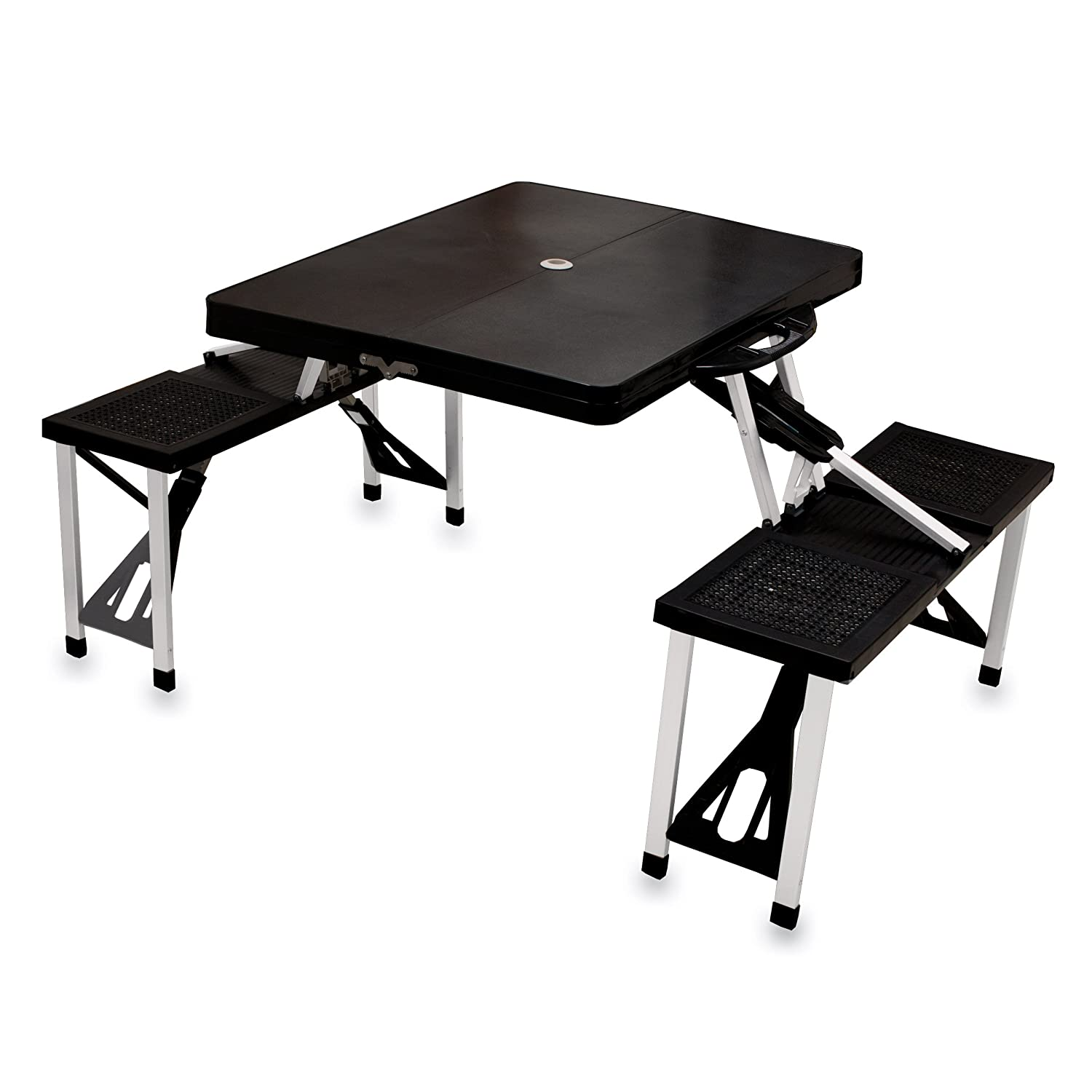 New Folding Picnic Table Bench Chairs Portable Outdoor Aluminum Frame Black Ebay