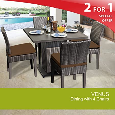 Venus Square Dining Table with 4 Chairs Cocoa 2 Yr Fade Warranty