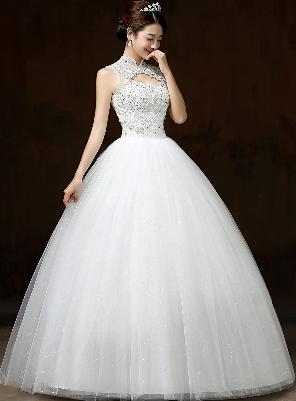 Clover Bridal Vintage High Collar Pearl Wedding Dress for Bride White Under 100 6