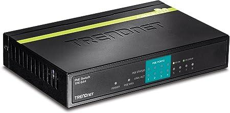 TRENDnet - Switch PoE Ethernet 10/100 Mb/s à 8 Ports Non Géré, GREENnet, 802.3af, Métallique, Alimentation PoE de 30 W, Economies d'Energie, TPE-S44