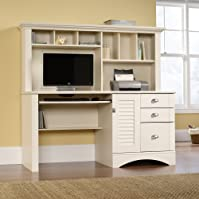 Sauder Harbor View Computer Desk with Hutch - Antiqued Paint finish