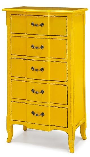 Fivy Yellow 5 Drawer Dresser