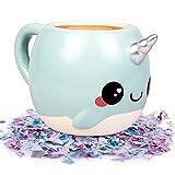 Narwhal, Unicorn of the Sea Coffee Mug - 18 oz Glitter Galaxy - Nizzle the Narwhal (?ne ???k) (Color: Blue Narwhal, Tamaño: ?ne ???k)