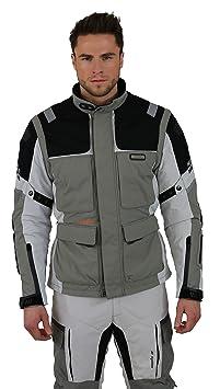 NERVE 15111514160_04 G-Drive Blouson Moto Touring Textile , Blanc/Gris, Taille : L