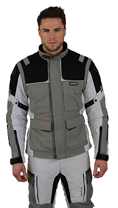 NERVE 15111514160_08 G-Drive Blouson Moto Touring Textile , Blanc/Gris, Taille : 4XL