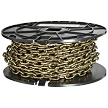 "Campbell 0723367 Low Carbon Steel Straight Link Machine Chain on Reel, Brass Glo, #3 Trade, 0.14"" Diameter, 50' Length, 270 lb. Load Capacity"