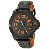 BOSS Orange Men's 1513152 New York Black Watch with Leather Band (Color: Black)