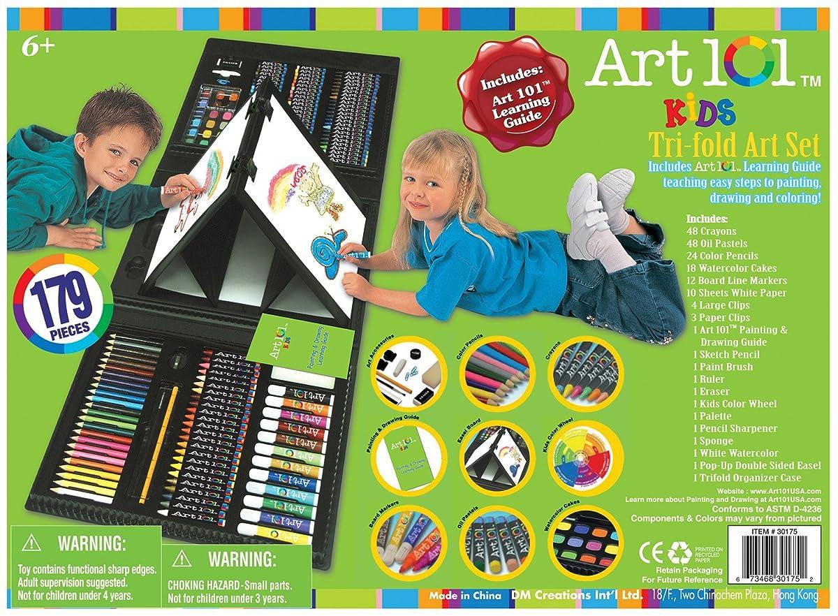 Art 101 Kids 179-Piece Double Sided Trifold Easel Art Set