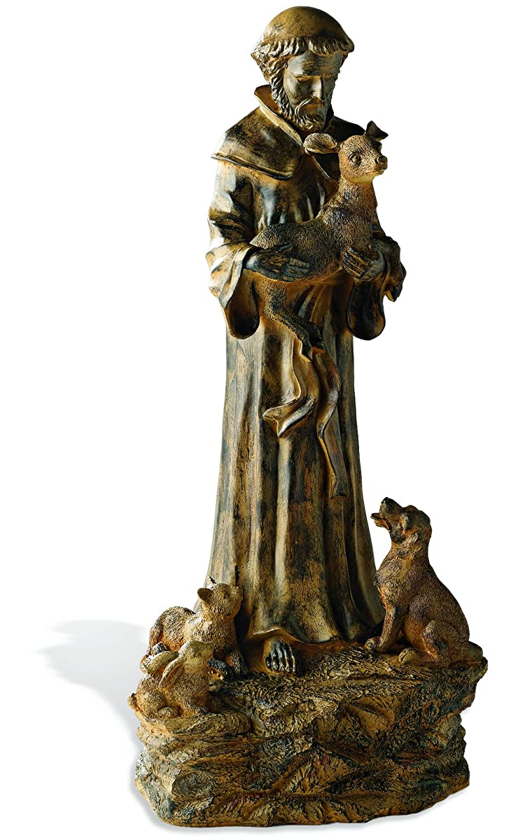 Wind & Weather Resin St. Francis Statue garden sculptures indoor outdoor saint 10½W x 22H
