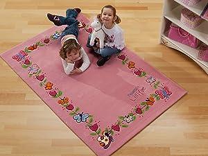 Kinder Teppich Prinzessin Lillifee  Schmetterlinge rosa  ÖkoTex zertifiziert, Größe 80x150 cm   Kundenbewertung und Beschreibung