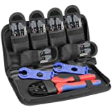 BougeRV MC3 MC4 Solar Crimping Tools for 2.5/4.0/6.0mm² Solar Panel PV Cable + 6pcs MC4 Male Female Solar Panel Cable Connector + 1 Pair Solar MC4 Connector Assembly Tool Spanner Wrench Tool Kit