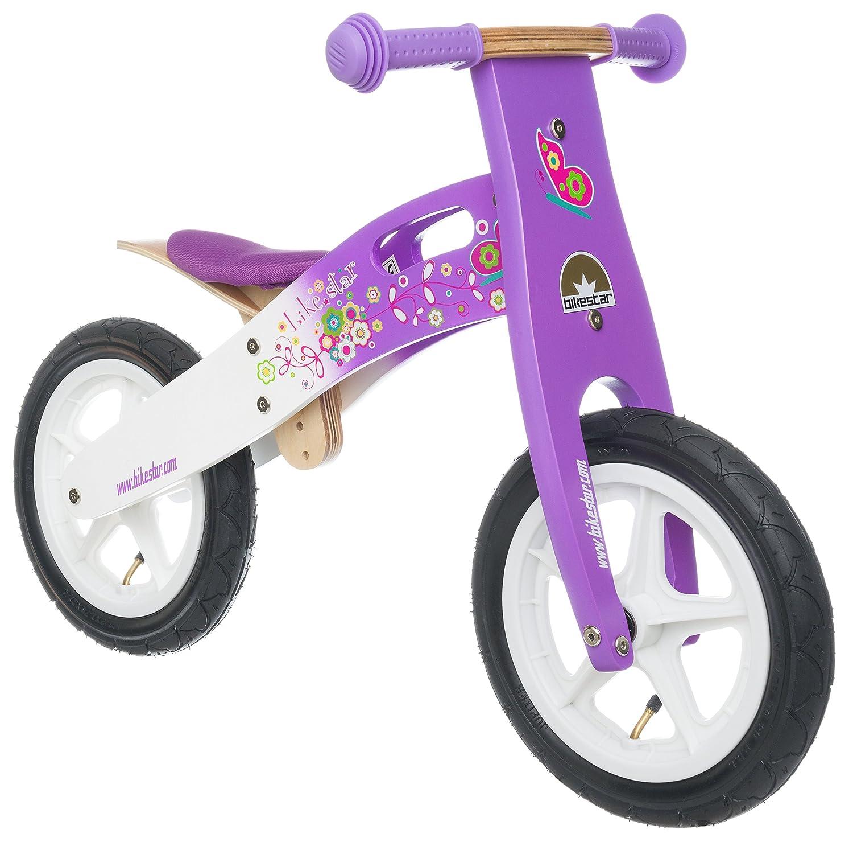 BIKESTAR® Premium Kinderlaufrad für modebewusste Prinzessinnen ab 3 Jahren ★ 12er Natur Holz Edition ★ Candy Lila & Traumhaft Weiß jetzt bestellen