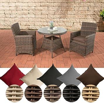 CLP Poly-Rattan Sitzgruppe QUITO, 5 mm Rund-Geflecht, Alu-Gestell (2 Sessel, Tisch rund Ø 90 cm) ideal fur Balkon und Terrasse Rattan Farbe braun-meliert, Bezugfarbe terrabraun