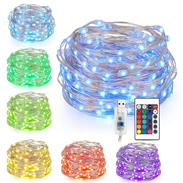 Kohree LED String Lights,USB Powered Multi Color Changing String Lights with Remote,100leds Indoor Decorative Silver Wire Lights for Bedroom,Patio,Out