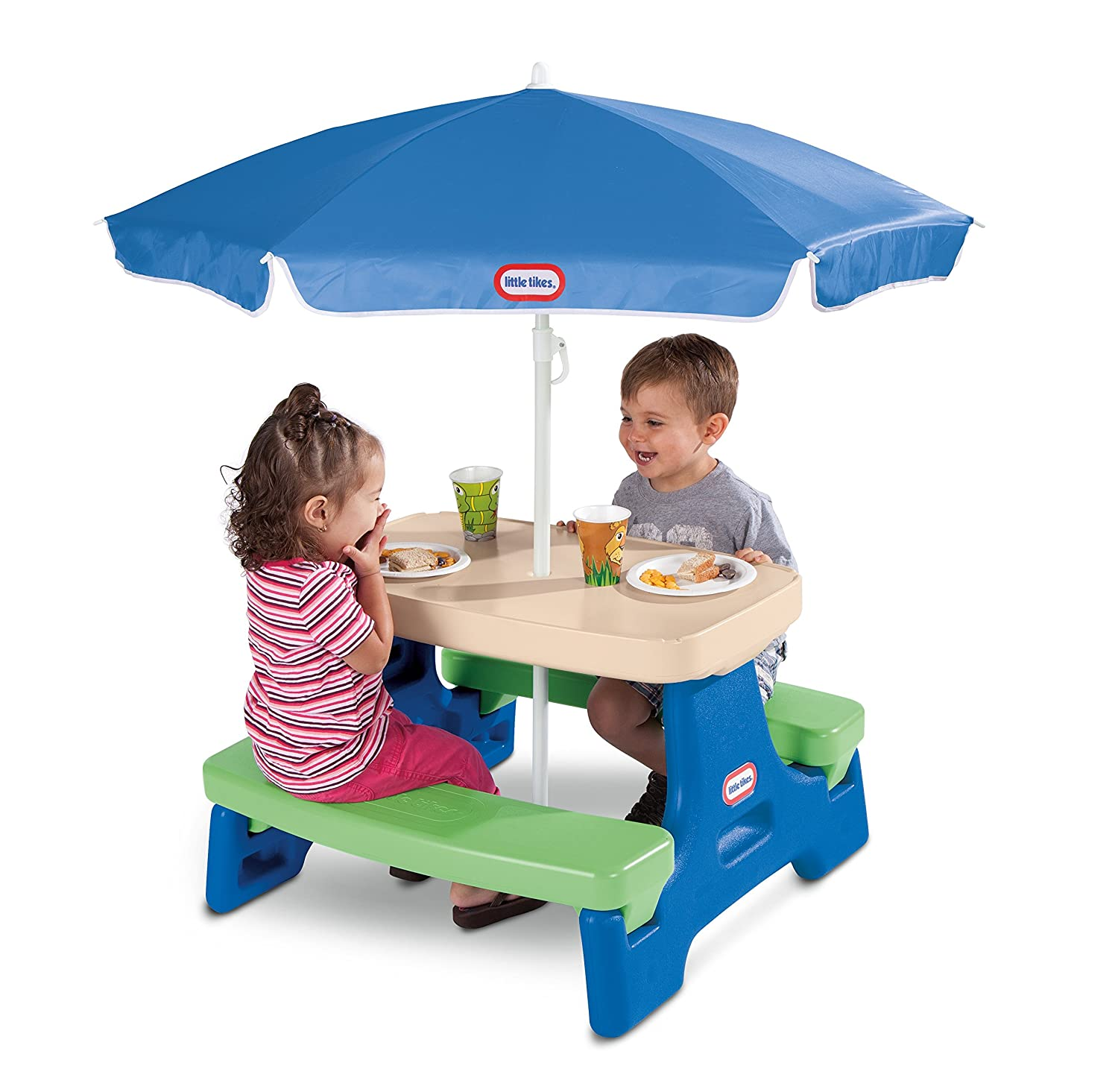An Image of Little Tikes Easy Store Junior Picnic Table with Umbrella, Blue/Green