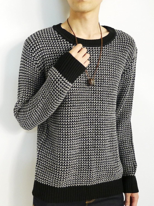 Amazon.co.jp: (モノマート) MONO-MART 4色 タック編み ニット プルオーバー メンズ ゆるふわ 肉厚 ざっくり セーター 7G: Amazonファッション通販