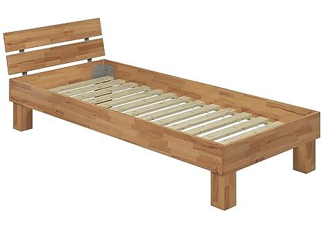 60.80-09-220 Bett Überlänge Buche natur massiv Einzelbett 90x220 cm mit Rollrost