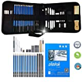 KONIBN 36pcs Drawing and Sketching Pencil Set Professional Drawing Kit in Zipper Carry Case, Sketch Pencils Set Includes Graphite Charcoal Sticks Tool Sketch book, Art Supplies for Adults Kids (Color: as shown, Tamaño: 8.3in x 9.3in)