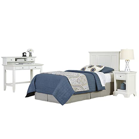 Home Styles 5530-4018 Naples Twin Headboard, Night Stand and Student Desk with Hutch, White