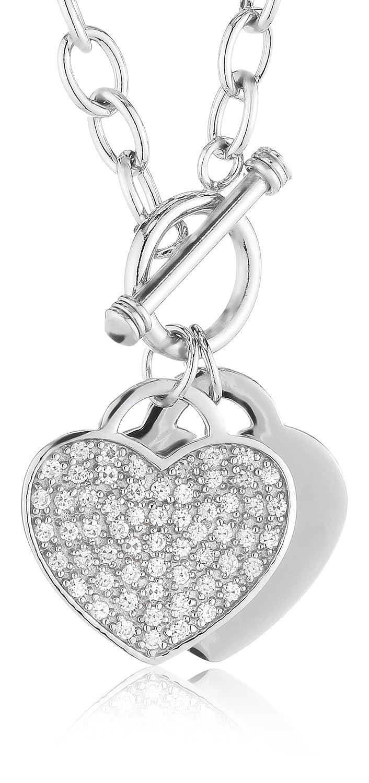 Pasionista Damencollier Herz Sterling-Silber 925 mit Zirkonia-Steinen 43cm 602394 günstig kaufen