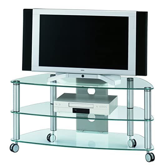 Jahnke CU-SR 1060 KGL/AL GESCHL TV-Rack, ESG-Sicherheitsglas, Metall pulverbeschichtet, klarglas/alu geschliffen, 109,5 x 47 x 53 cm