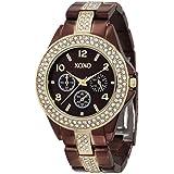 Reloj para dama analogo XO5455 XOXO Rhinestone Accent color chocolate